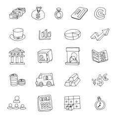 Doodle Bank icon, hand drawn illustration.