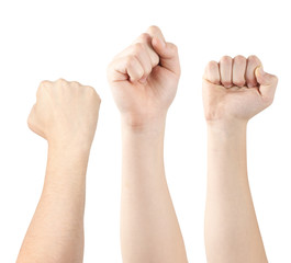 Three hands demonstrating fists, isolated, clipping path