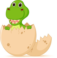 Cute baby dinosaur cartoon hatch