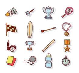 Sport Icons, Hand drawn vector illustration