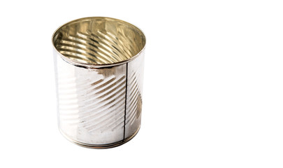 Empty tin can over white background