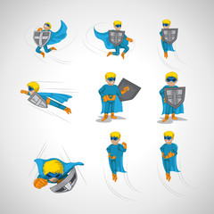 Superhero In Action Set - Isolated On Background - Vector Illustration, Graphic Design, Editable For Your Design