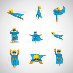 Superhero In Action Set - Isolated On Gray Background