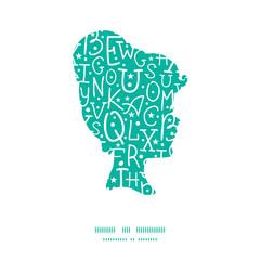 Vector white on green alphabet letters girl portrait silhouette