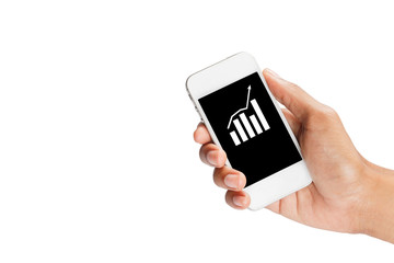 Hand handle a smartphone for check a business graph