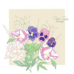 Background with flowers peonies,  irises and pansies-01