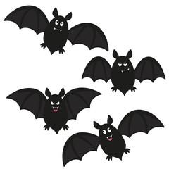 a set of four flying cartoon bats