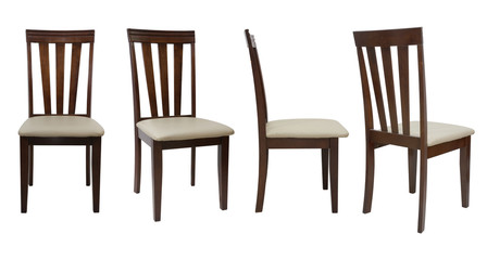 4 angle wooden chair  isolated on white background Fototapete