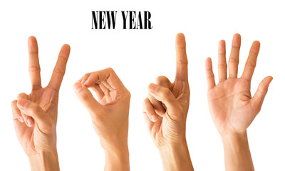 Hand sign new year number 2015 on Isolated white Background