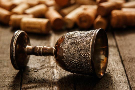 Medieval goblet and wine corks