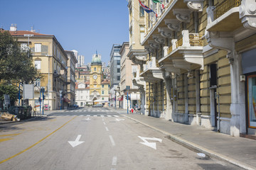 Square in the Downtown of Rijeka in Croatia