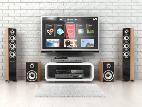Home cinemar system. TV,  oudspeakers, player and receiver  in t