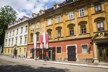 Beautiful street in Ljubljana old town Slovenia.