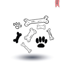 Dog Bone, vector illustration.