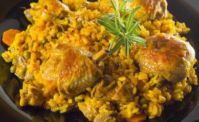 Detalle de arroz con pollo