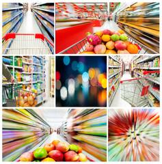 Supermarkets and urban shopping concept Photos