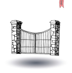 gate icon, vector illustration
