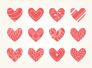 Valentine heart vector set  ,love symbol icon.