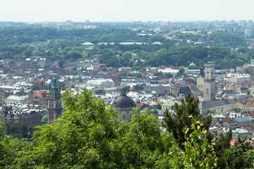 Bird eye view of Lviv from the city hall, Ukraine
