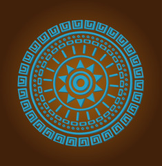 Aztec sun circle ornament