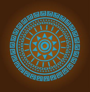 Aztec sun circle ornament