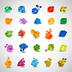 3D Cube Icons Set - Isolated On Gray Background - Vector Illustration, Graphic Design Editable For Your Design