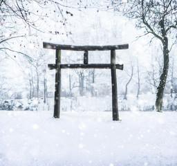 Wall Mural - Japanischer Schrein im Winter