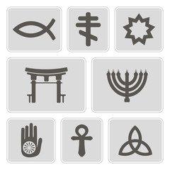 set of monochrome icons with symbols of religion