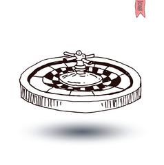casino roulette wheel , hand drawn vector illustration.