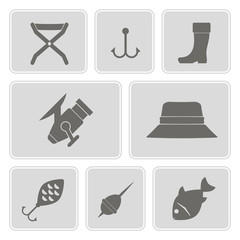 set of monochrome icons with fishing attributes