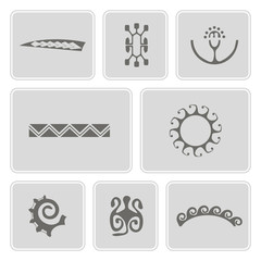 set of monochrome icons with Polynesian tattoo symbols