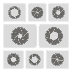 set of monochrome icons with camera shutter symbols