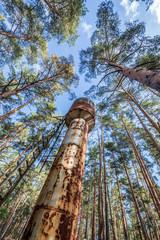 rusty water tower in holiday resort Izumrudnoe in Chernobyl Zone