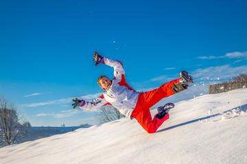 Foto op Aluminium Ontspanning weiter Sprung im Schnee