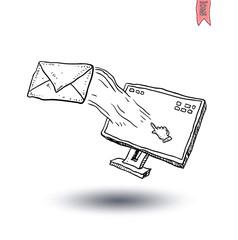 Envelope Mail Icon, Hand-drawn vector illustration