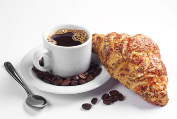Cup of coffee and croissant with cheese