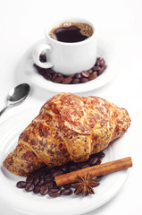 Croissant with cheese and coffee