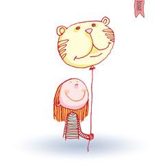 Girl and balloon, vector illustration.