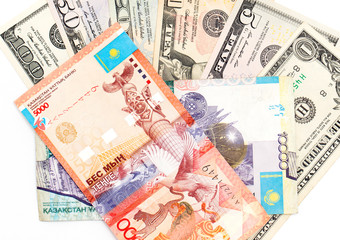 American dollars and Kazakhstan tenge