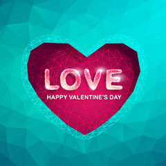 Valentine's day cards with Polygon Heart.Abstract love vector