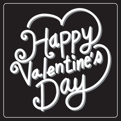 Happy Valentine's Day lettering Card , vector illustration