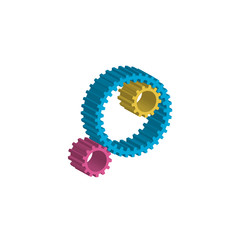 colored gears white background