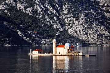 Island and Church in Perast on shore of Boka Kotor bay