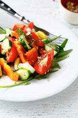 Salad with fresh tomatoes and pepper