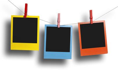 Three color polaroid frames