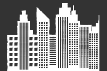 Modern City Skyline With Skyscrapers On Blackboard Vector