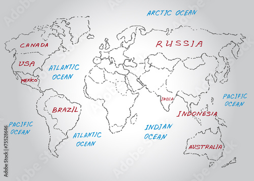 world map sketch vector illustration