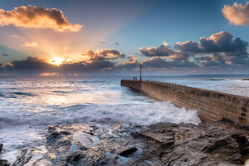 Wall Mural - Sunset Rays over Porthleven Pier