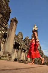 Cambodian dancer in traditional costume in Angkor-Tom