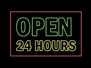 Open 24 hours in neon